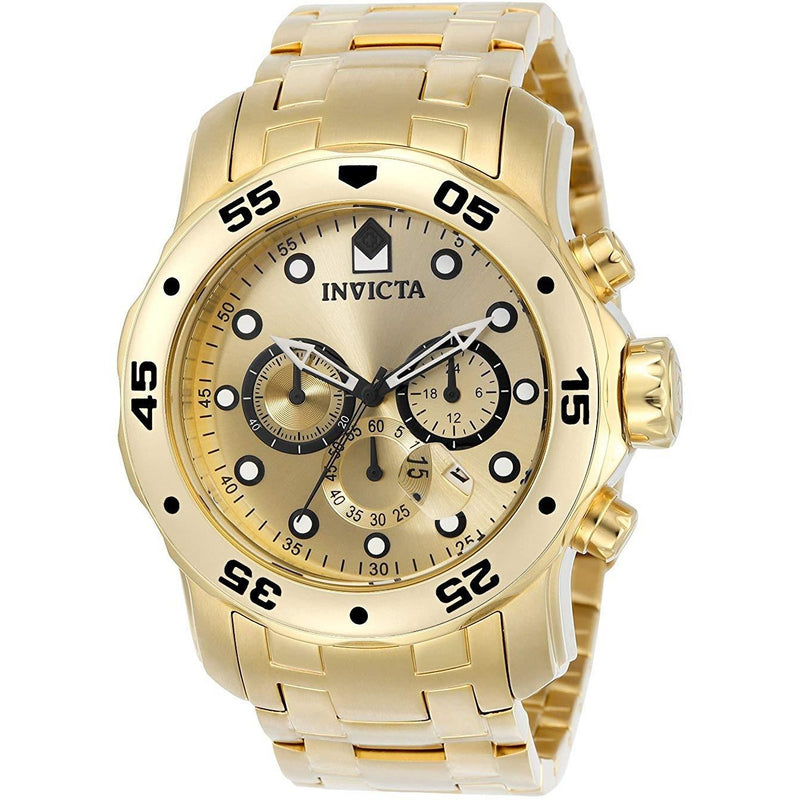 Invicta Men's 0074 pro Diver Analog Japanese Quartz 18k Gold-plated Stainless Steel Watch - 3alababak