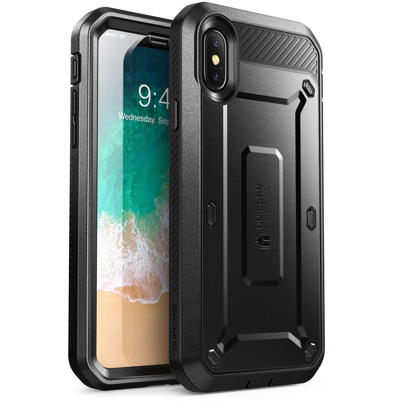 Supcase iPhone Xs,  iPhone X Case, Full-body Rugged Holster Case with Built-in Screen Protector Unicorn Beetle PRO Series
