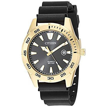 Citizen Men's Stainless Steel Japanese-Quartz Polyurethane Strap Black Casual Watch Model BI1043-01E
