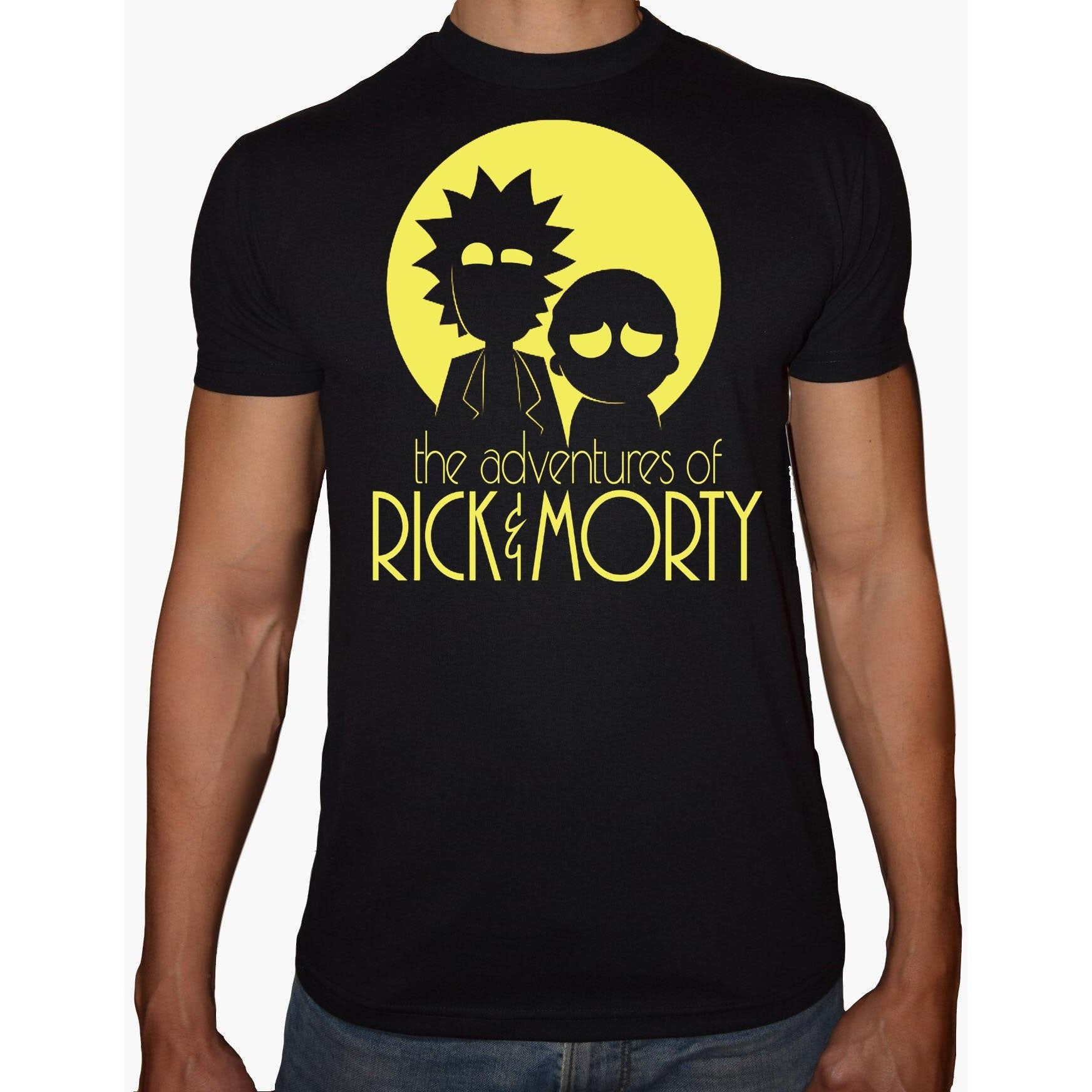 Phoenix BLACK Round Neck Printed T-Shirt Men (Rick&morty)