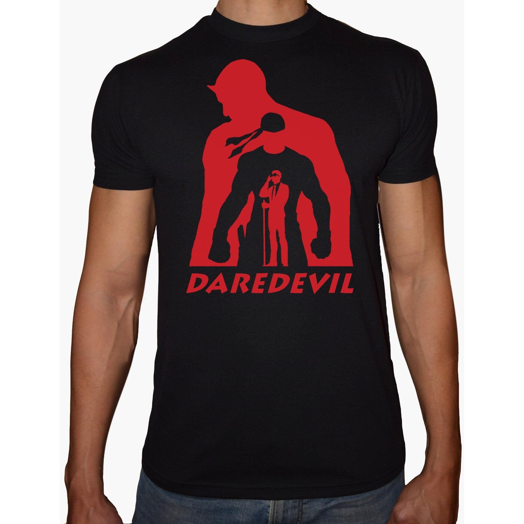 Phoenix BLACK Round Neck Printed T-Shirt Men (Daredevil)
