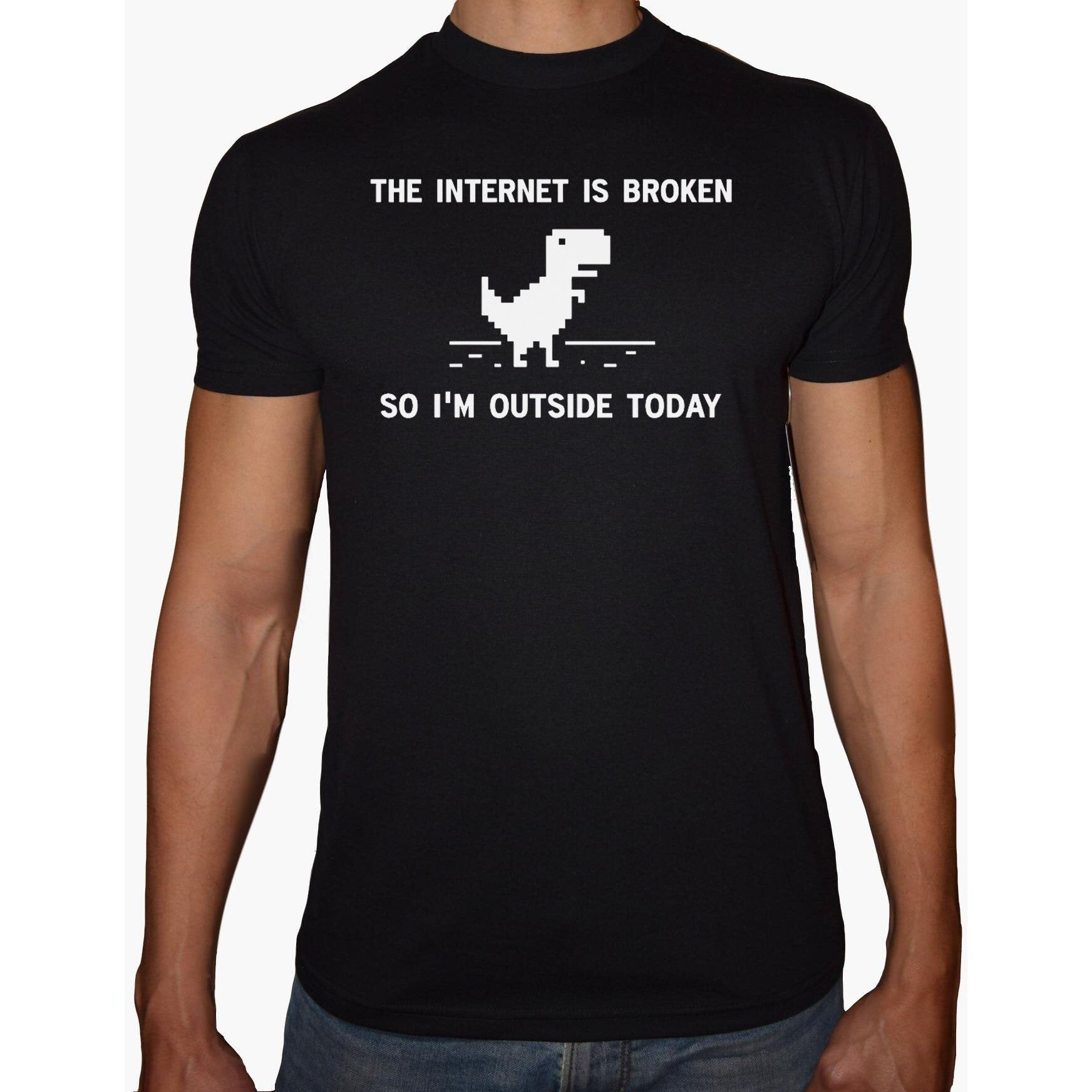 Phoenix BLACK Round Neck Printed T-Shirt Men (Internet is broken)