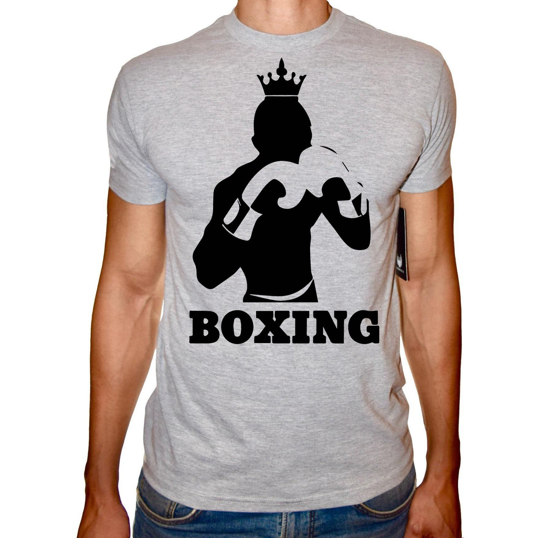 Phoenix GREY Round Neck Printed T-Shirt Men (Boxing)