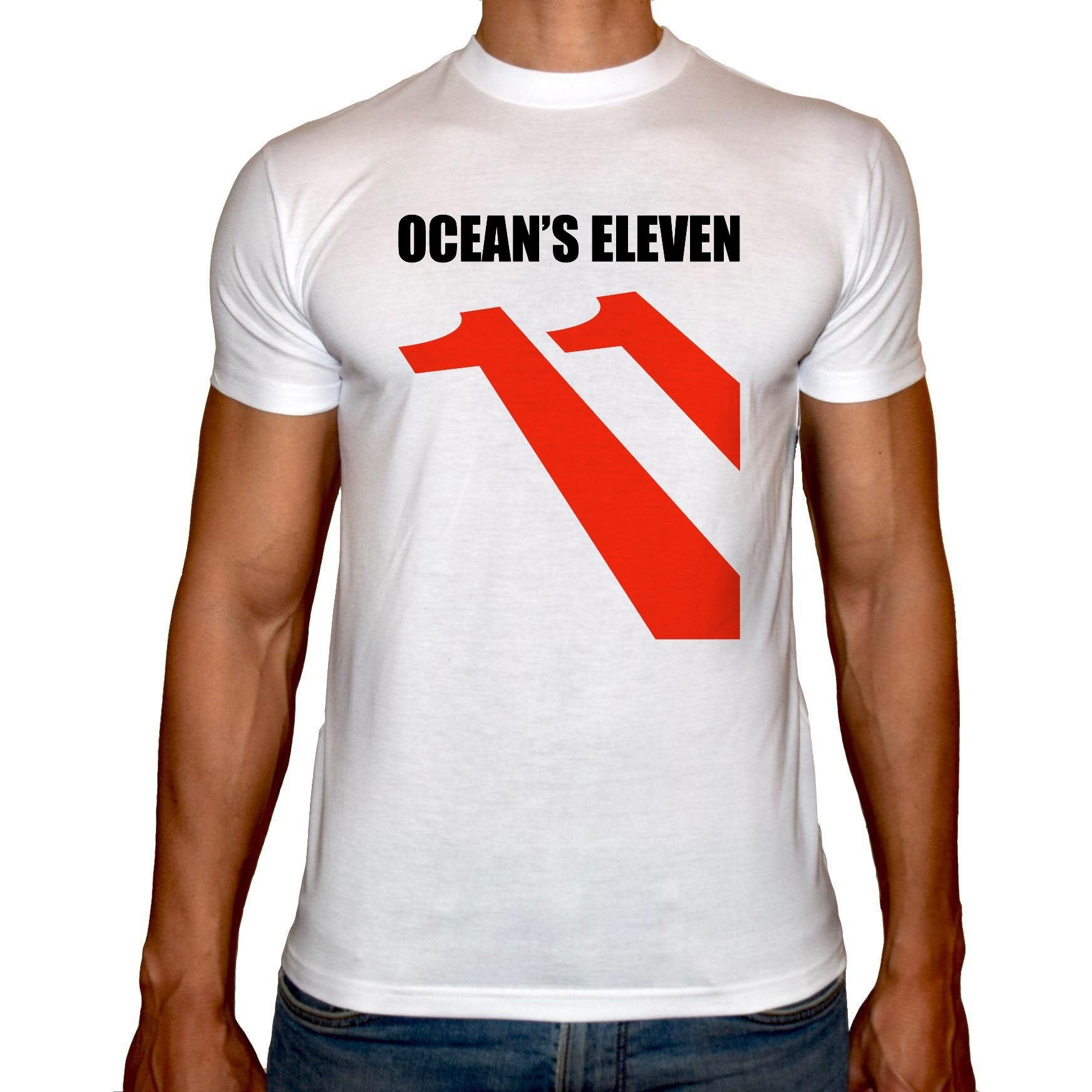 Phoenix WHITE Round Neck Printed T-Shirt Men (Ocean's eleven)