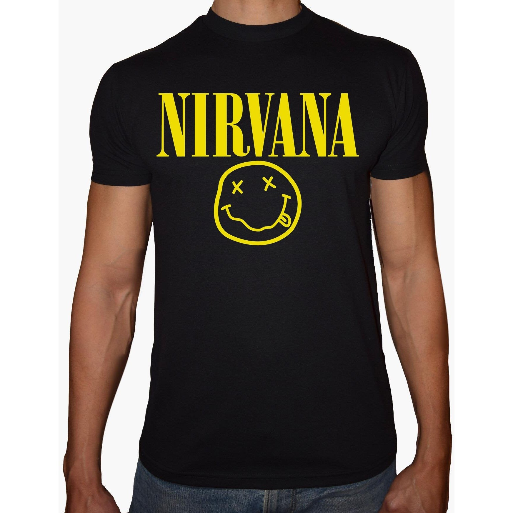 Phoenix BLACK Round Neck Printed T-Shirt Men (Nirvana)