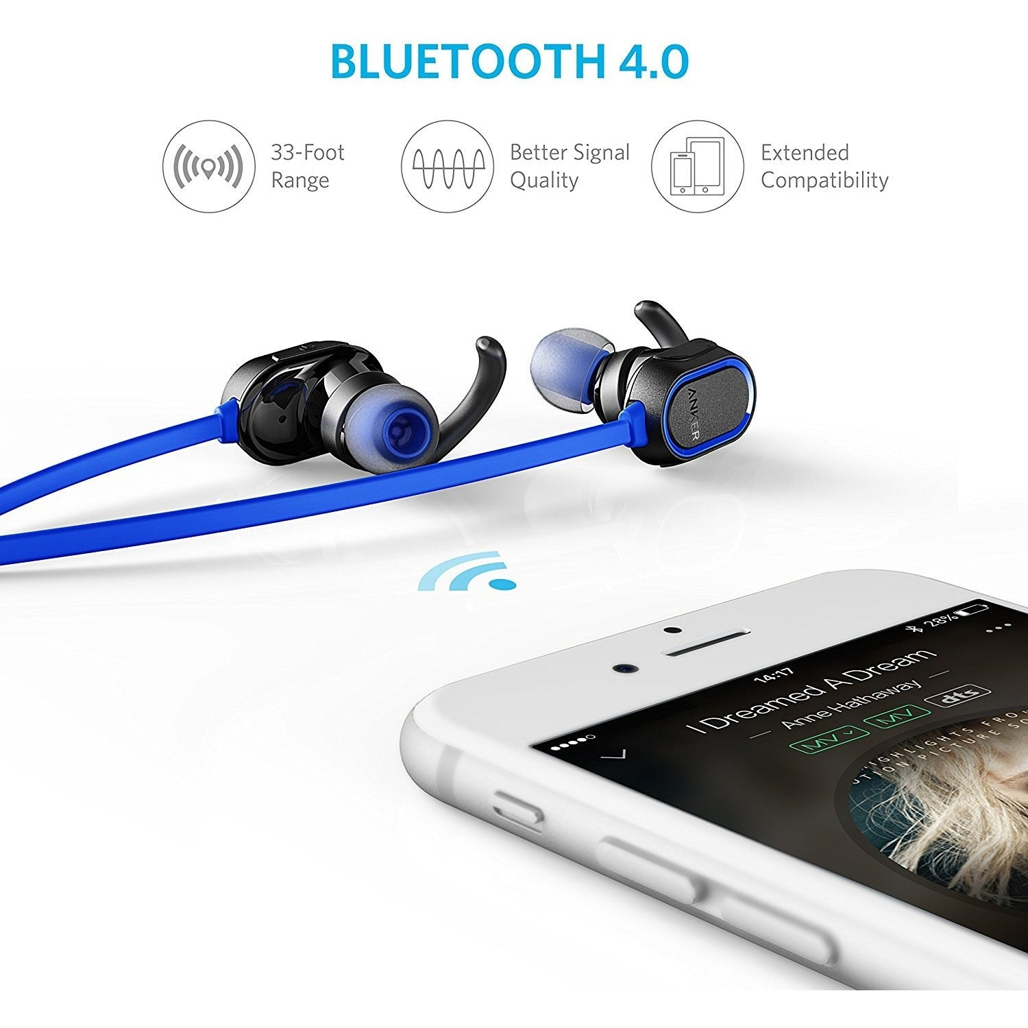 Anker SoundBuds In-Ear Sport Earbuds, Magnetic Wireless Bluetooth Headphones Blue