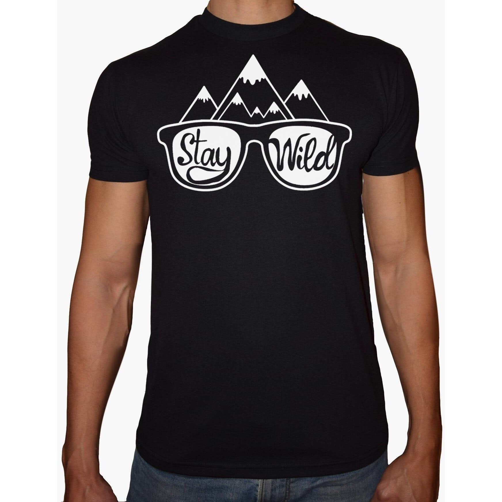 Phoenix BLACK Round Neck Printed T-Shirt Men (Stay wild)