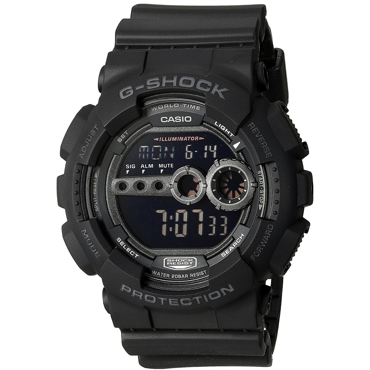 Casio Men's GD100-1B G-Shock Black Digital Dial Resin Strap Watch