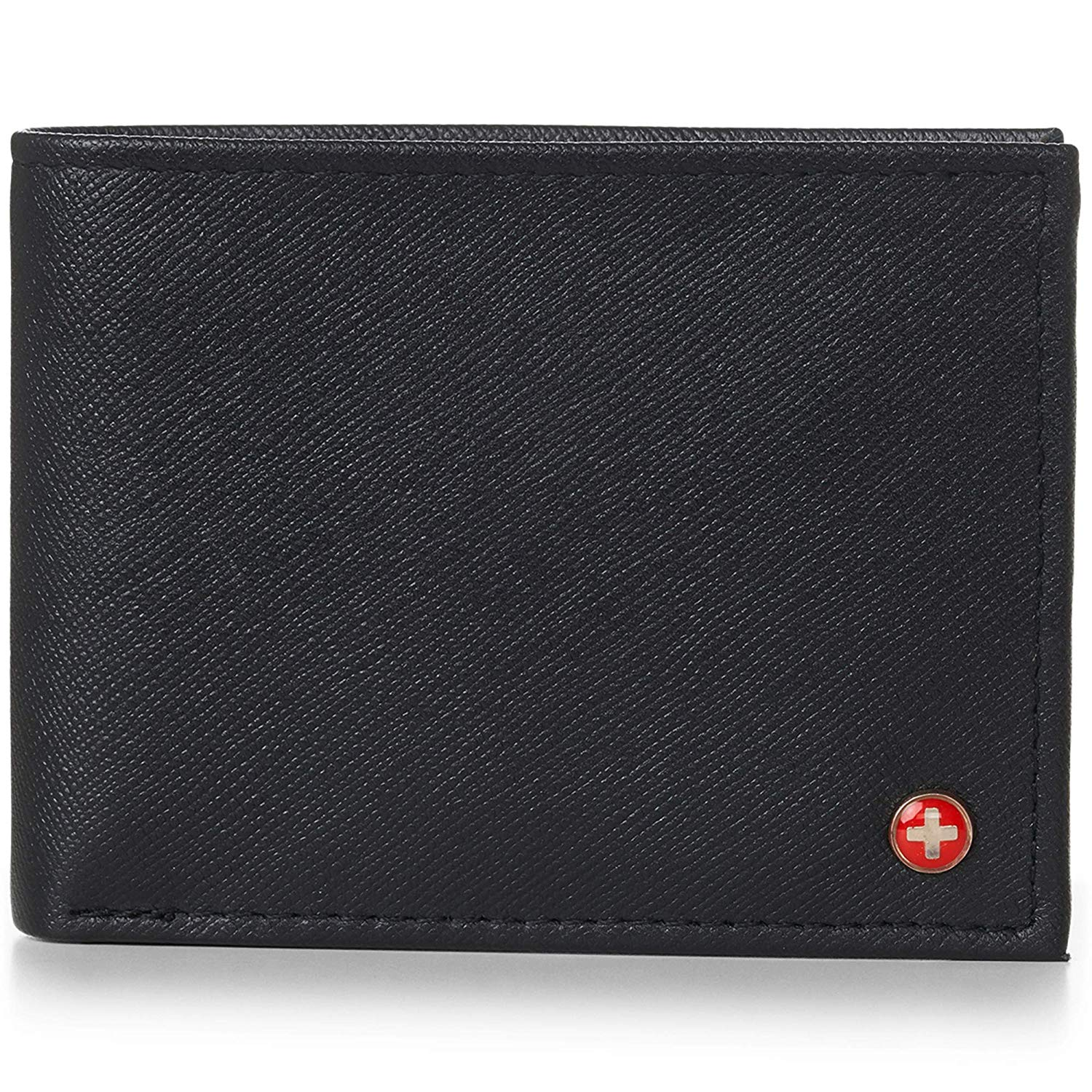 Alpine Swiss Mens Leather Flipout ID Wallet Bifold Trifold Hybrid Black