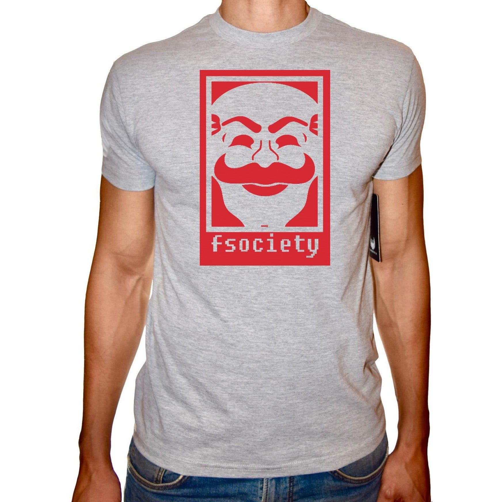 Phoenix GREY Round Neck Printed T-Shirt Men (Mr robot)