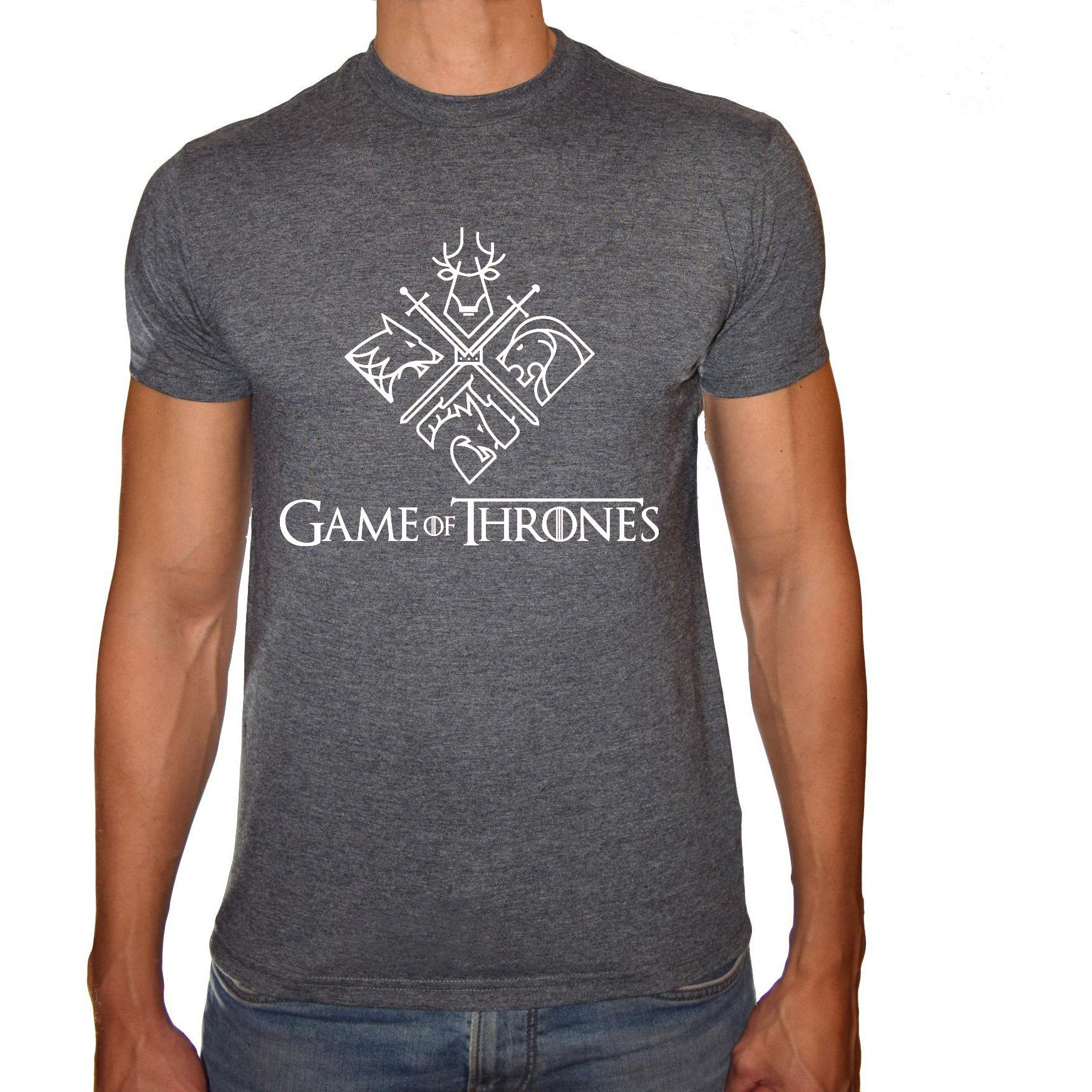 Phoenix CHARCOAL Round Neck Printed T-Shirt Men (Game of thrones - 4 characters)
