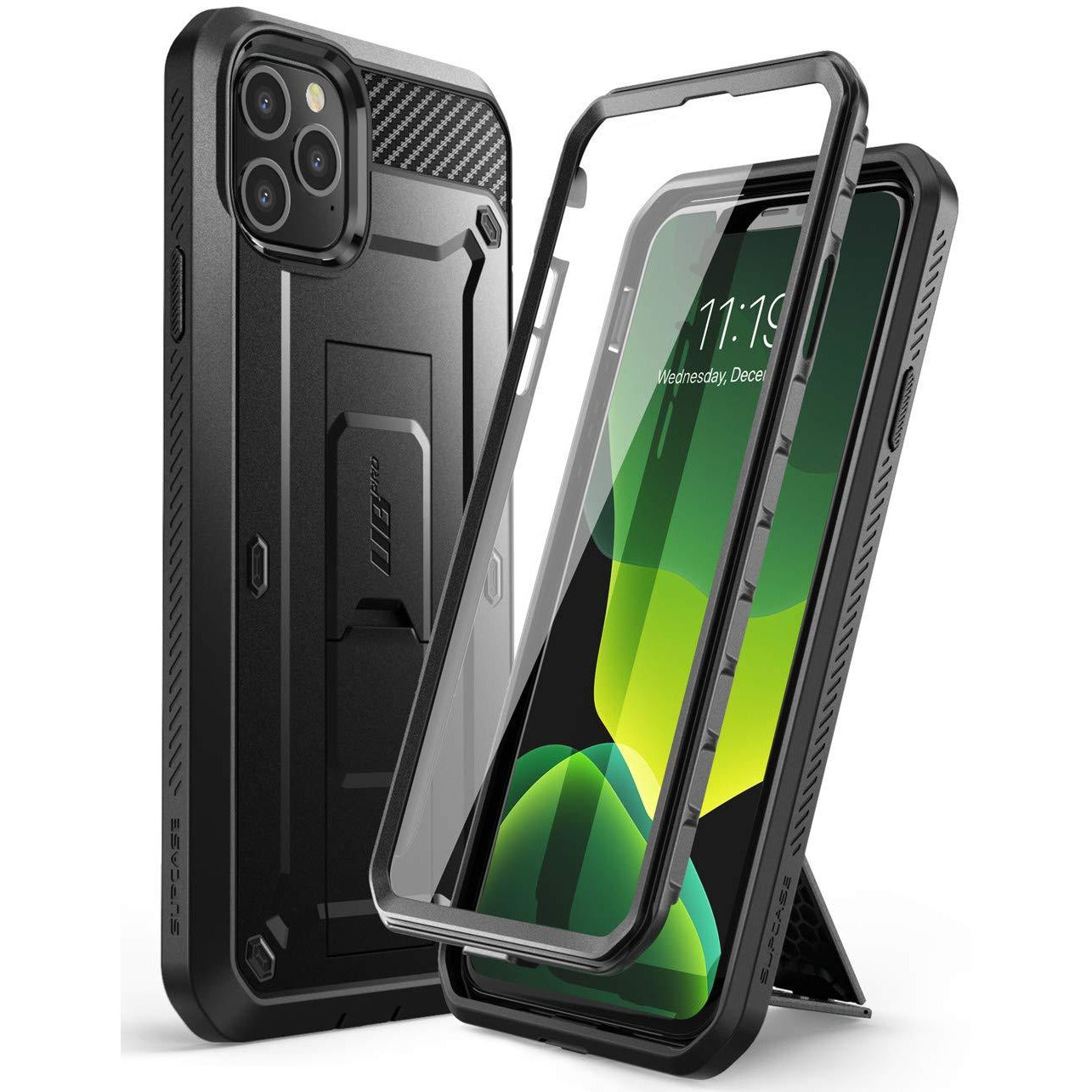 Supcase Unicorn Beetle Pro Series Case Designed for iPhone 11 Pro Max, Built-in Screen Protector Full-Body Rugged Holster Case (Black)