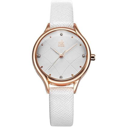 67c1bf65dd07 SK Cute Women Quartz Small Leather Wristwatch Watches 8013 white