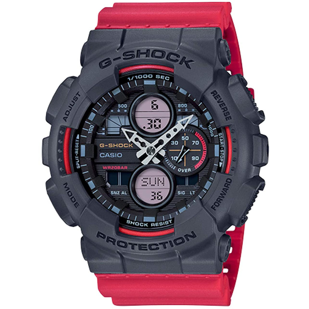 Casio G-SHOCK Men's GA140-4A Analog-Digital Red Grey Watch