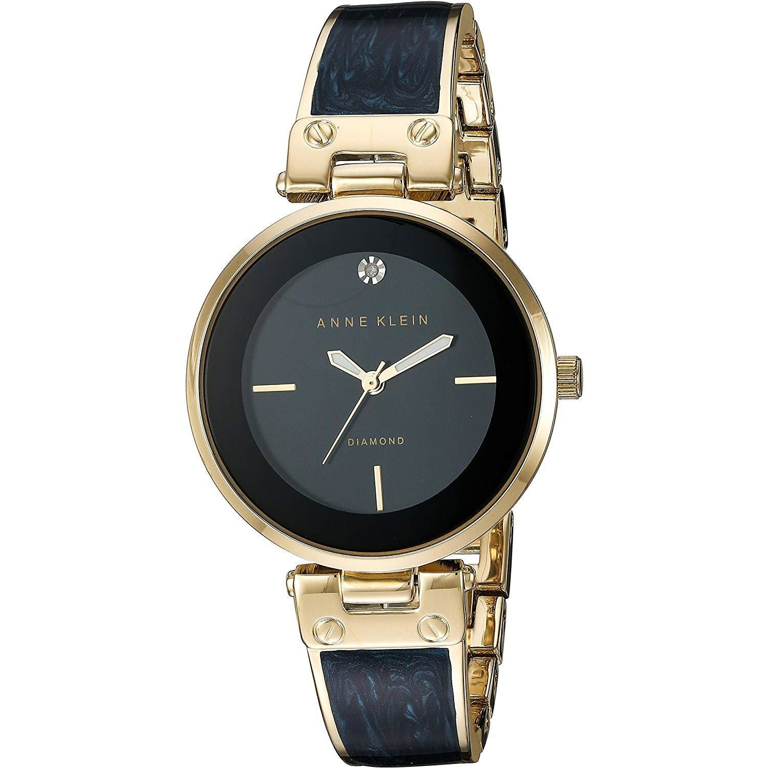 Anne Klein Women's AK/2512GYRG Diamond-Accented Rose Gold-Tone and Grey Marbleized Bangle Watch