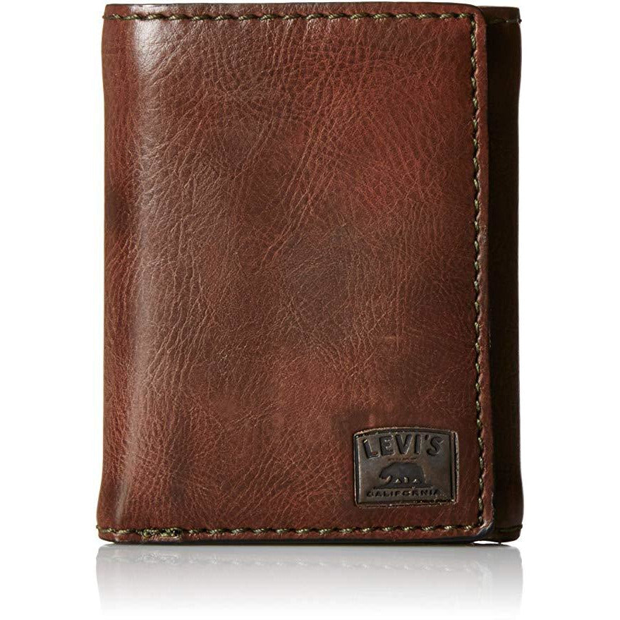 Levi's 31LV110002 Leather Men's Trifold Wallet , Brown Stitch