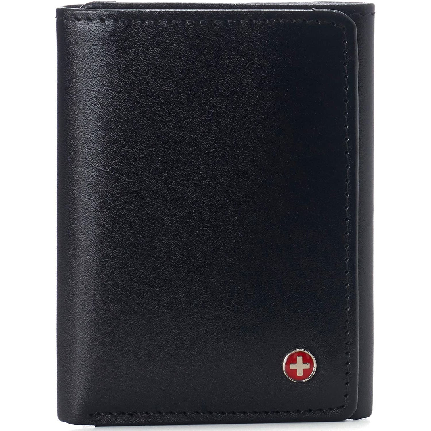 Alpine Swiss Mens Leon Trifold Wallet RFID Safe York Collection Smooth Finish Black