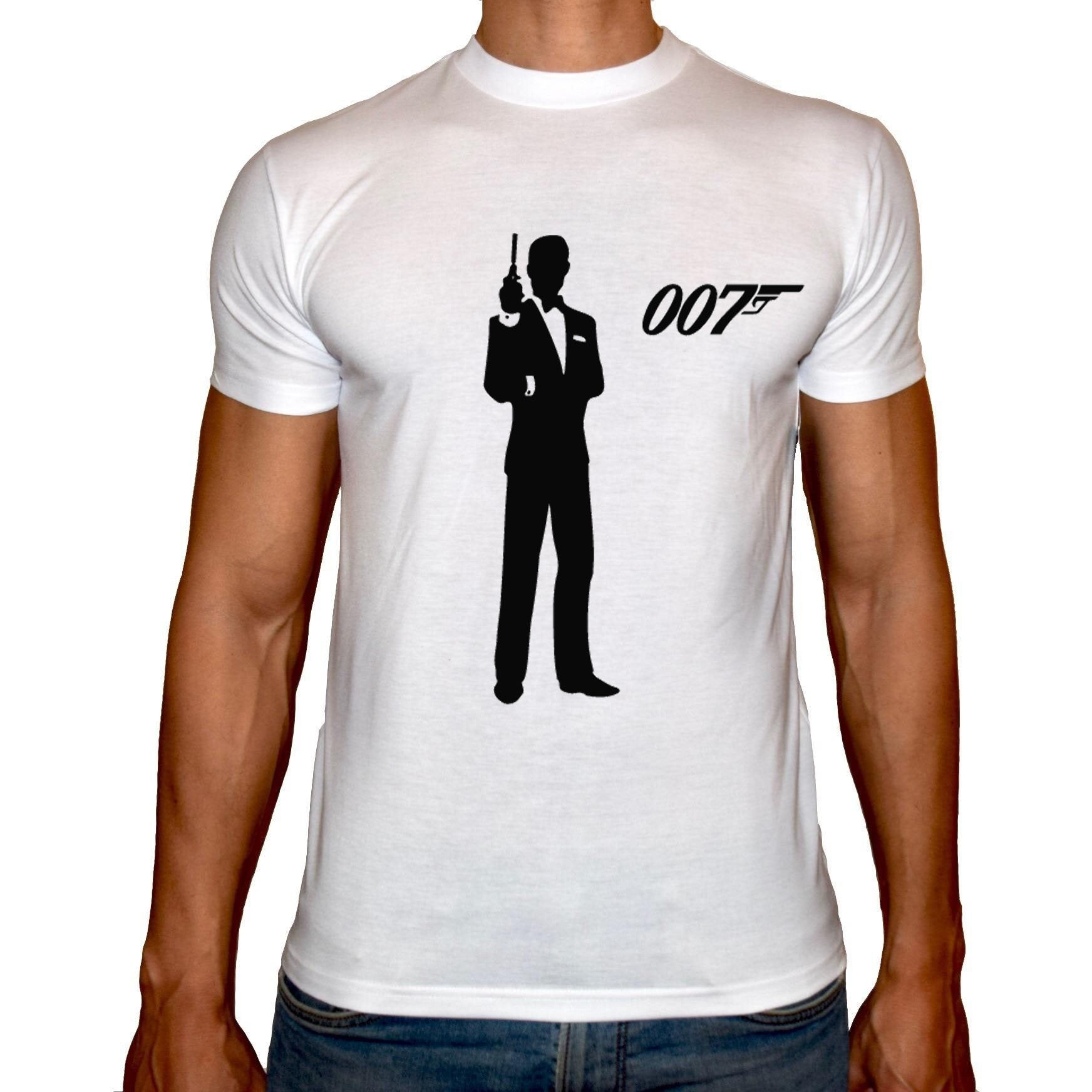 Phoenix WHITE Round Neck Printed T-Shirt Men (James bond)