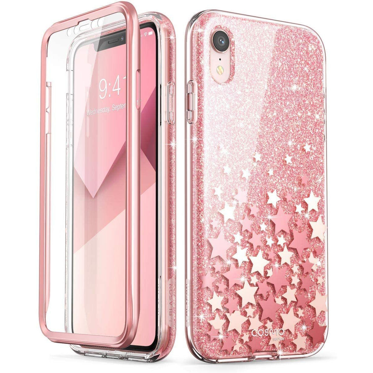 i-Blason Cosmo Full-Body Bumper Case for phone XR 2018 Release Pink Glitter