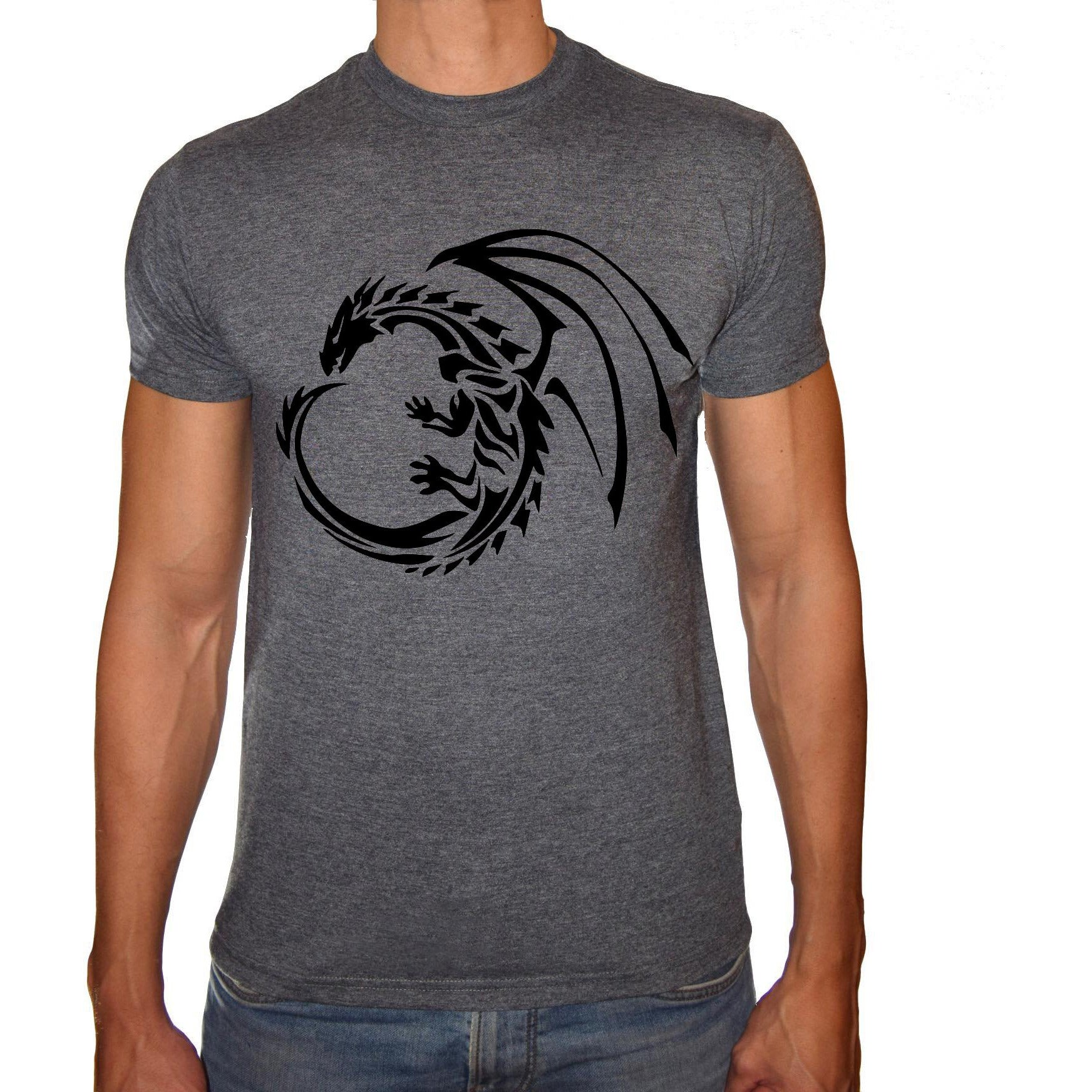 Phoenix CHARCOAL Round Neck Printed T-Shirt Men (Game of thrones - DRAGON)