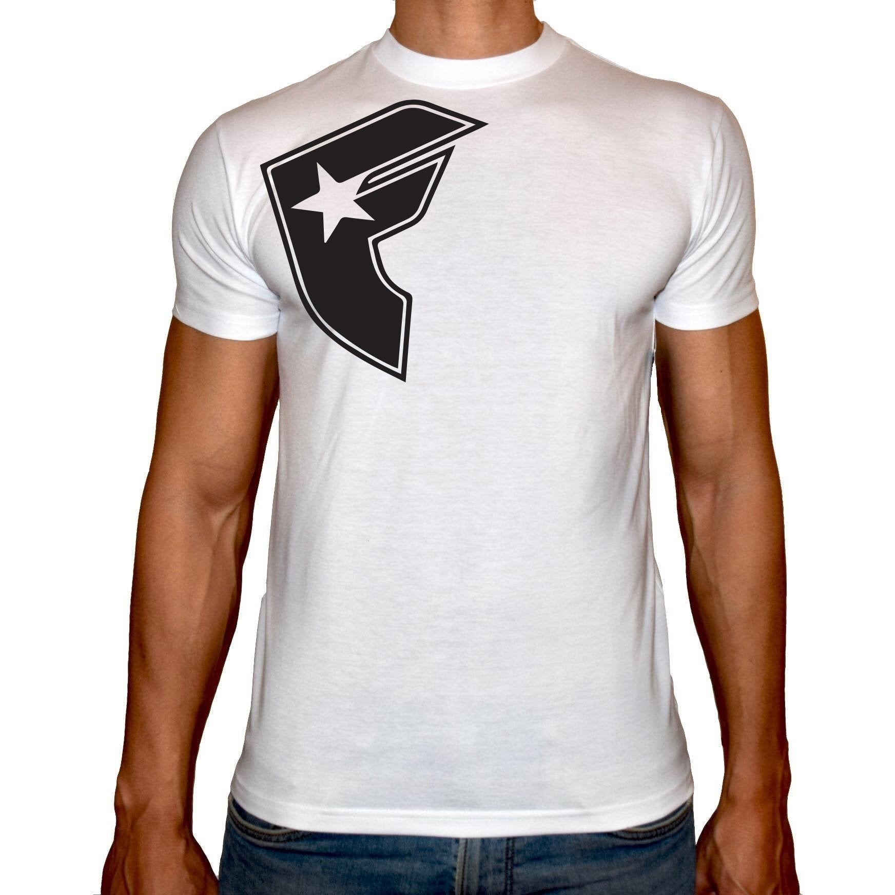 Phoenix WHITE Round Neck Printed T-Shirt Men(F star)