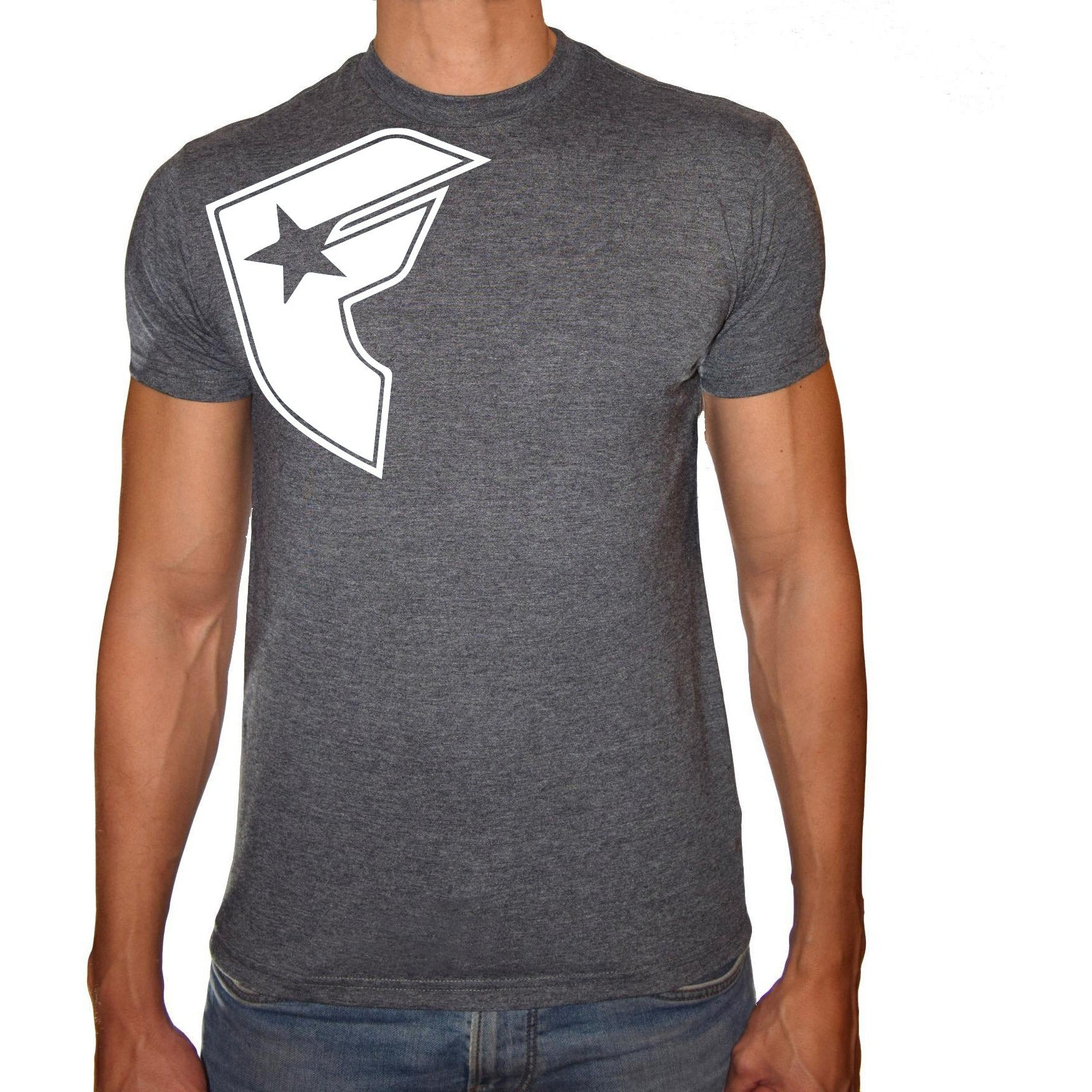 Phoenix CHARCOAL Round Neck Printed T-Shirt Men(F star)