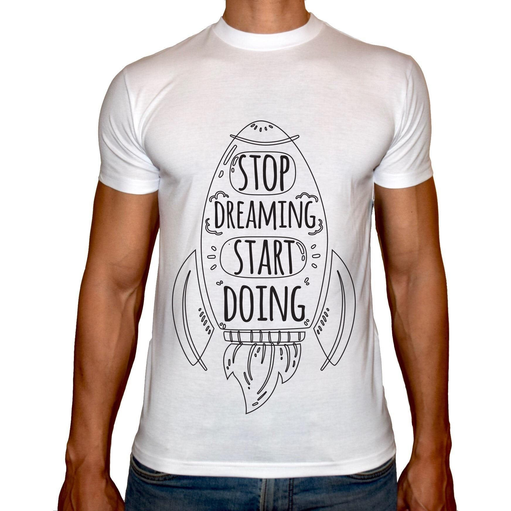 Phoenix WHITE Round Neck Printed T-Shirt Men(Stop Dreaming)