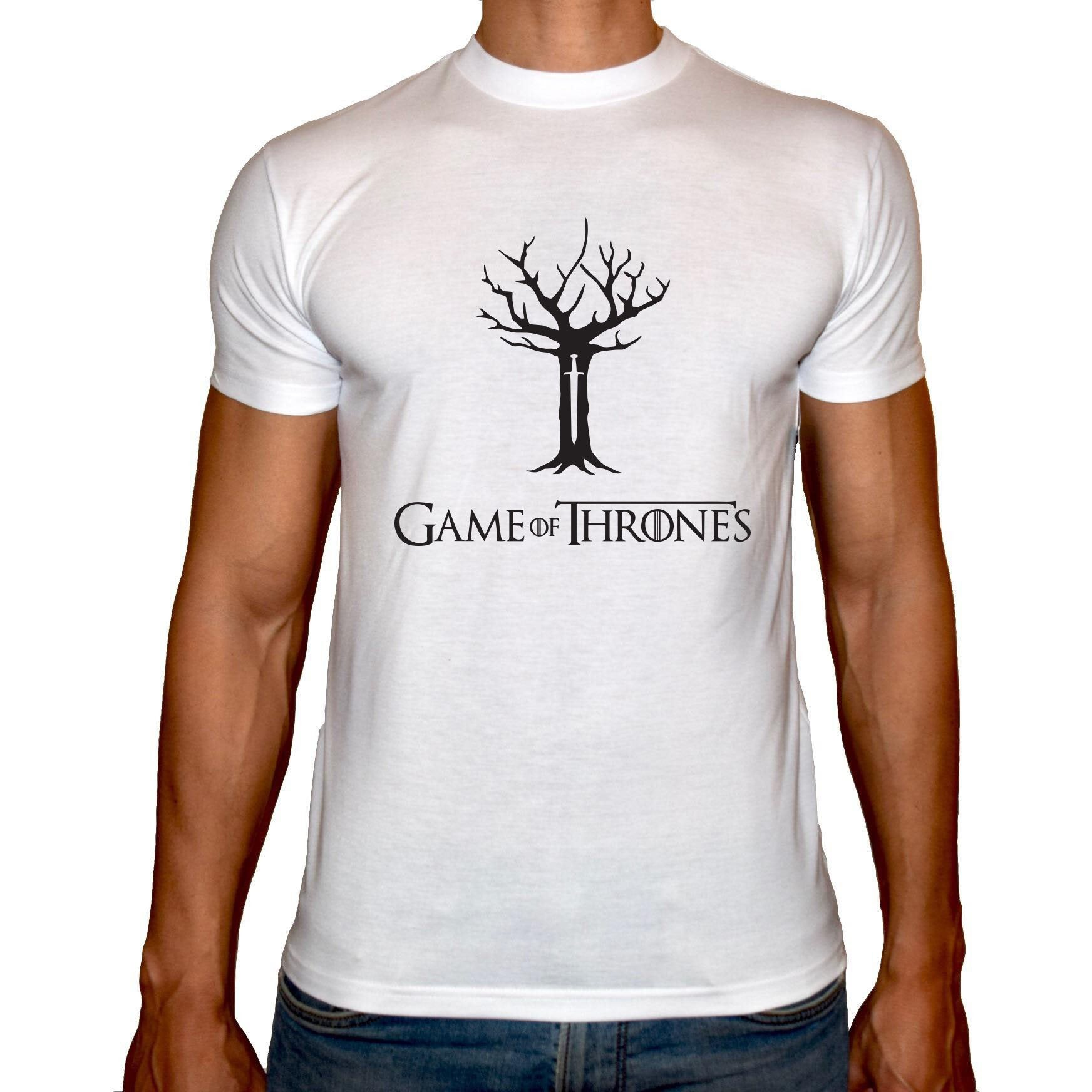 Phoenix WHITE Round Neck Printed T-Shirt Men (Game of thrones - Tree vector)
