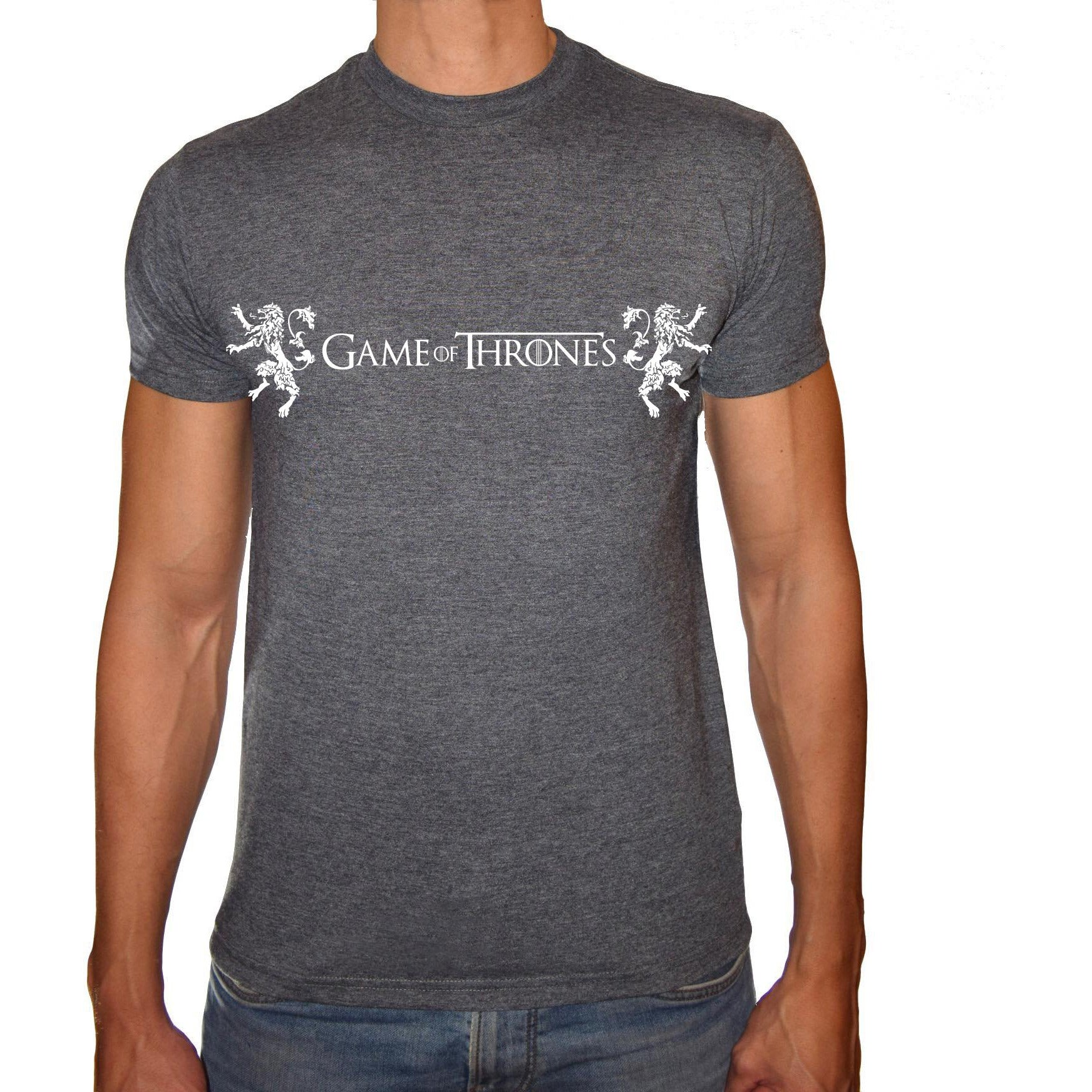 Phoenix CHARCOAL Round Neck Printed T-Shirt Men (Game of thrones - WOLF)