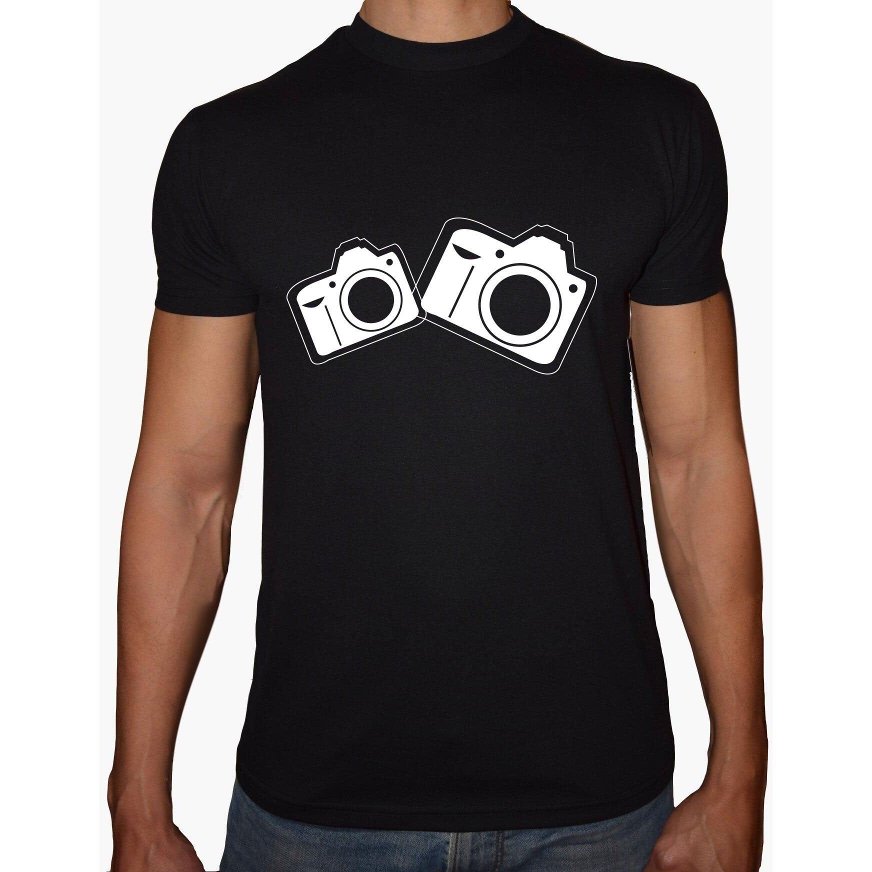 Phoenix BLACK Round Neck Printed T-Shirt Men(CAMERA)