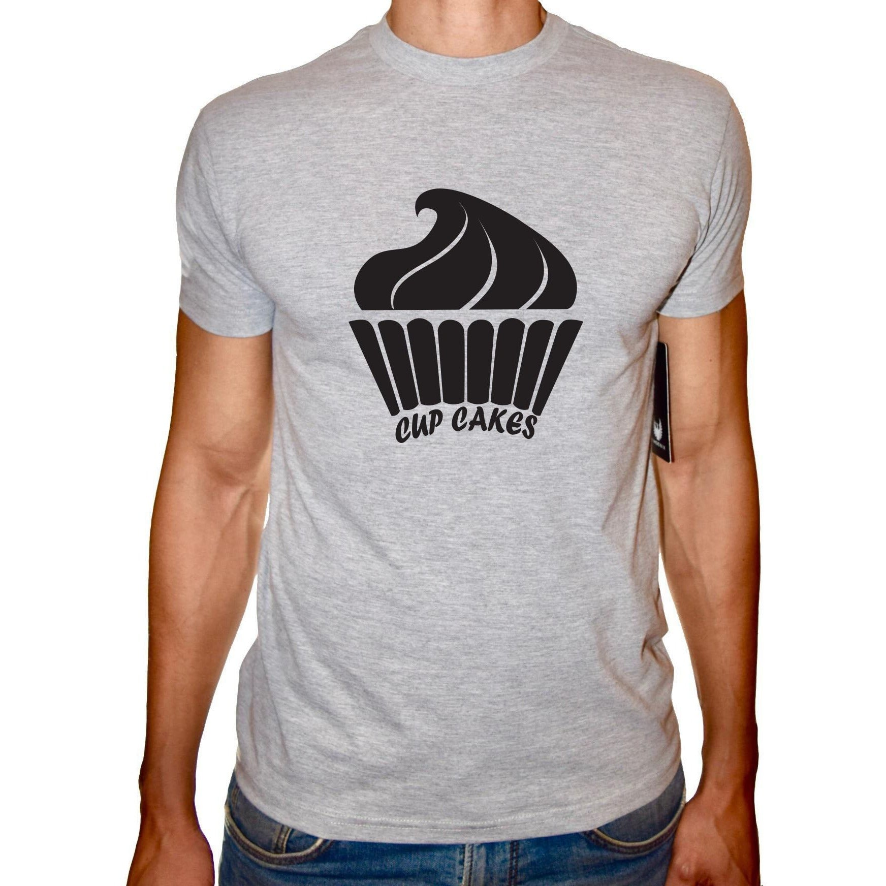 Phoenix GREY Round Neck Printed T-Shirt Men(cupcakes)