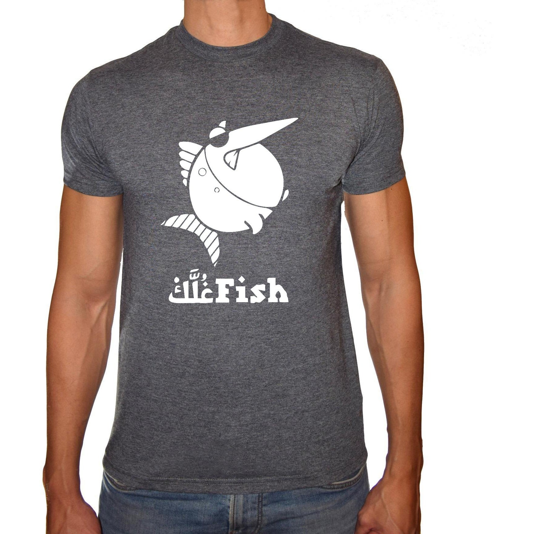 Phoenix CHARCOAL Round Neck Printed T-Shirt Men(fish 3elk)