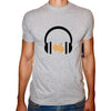 Phoenix GREY Round Neck Printed T-Shirt Men(head phones)