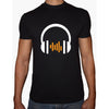 Phoenix BLACK Round Neck Printed T-Shirt Men(head phones)