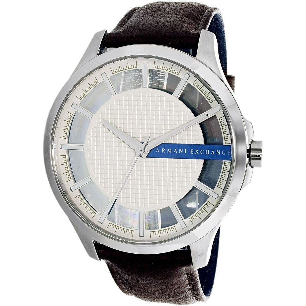 Armani Exchange Men's White Dial Leather Band Watch AX2187