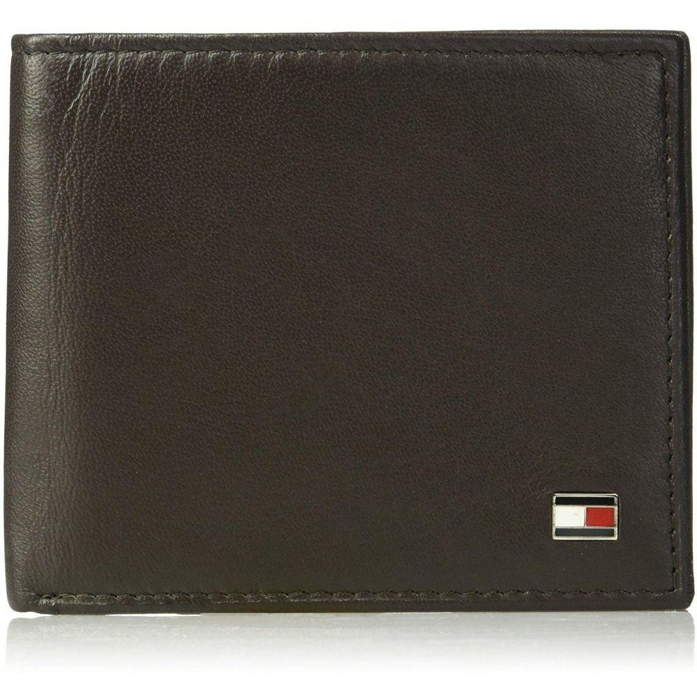 Tommy Hilfiger Men's Leather Oxford Slimfold Wallet Brown