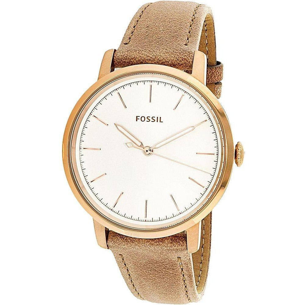 Fossil Women's White Dial Leather Band Watch - ES4185