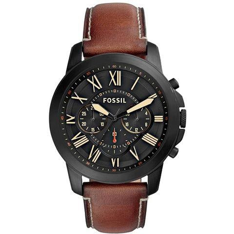 Fossil Grant Men's Black Dial Leather Band Watch - FS5241