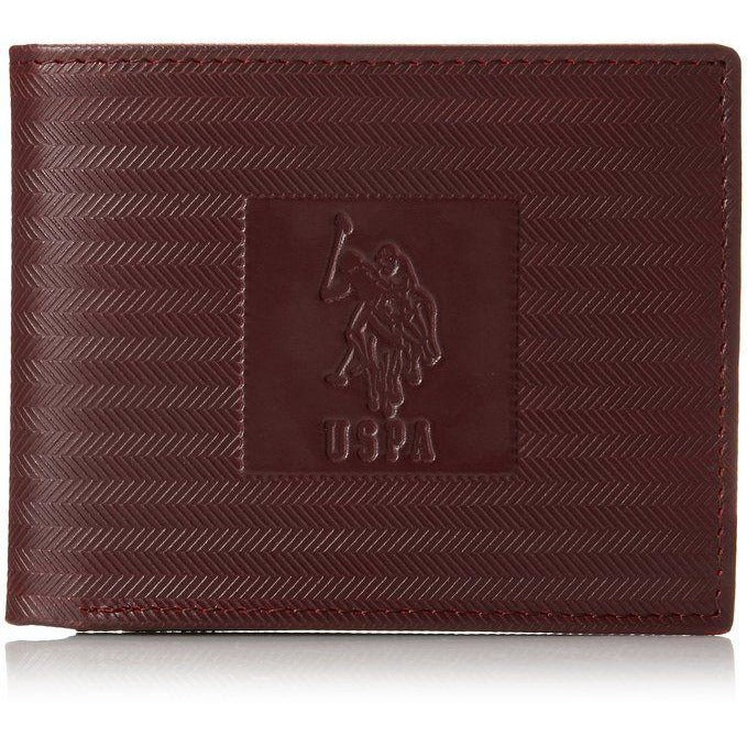 U.S. Polo Association Men Double Billfold with Tone On Tone Print Burgundy