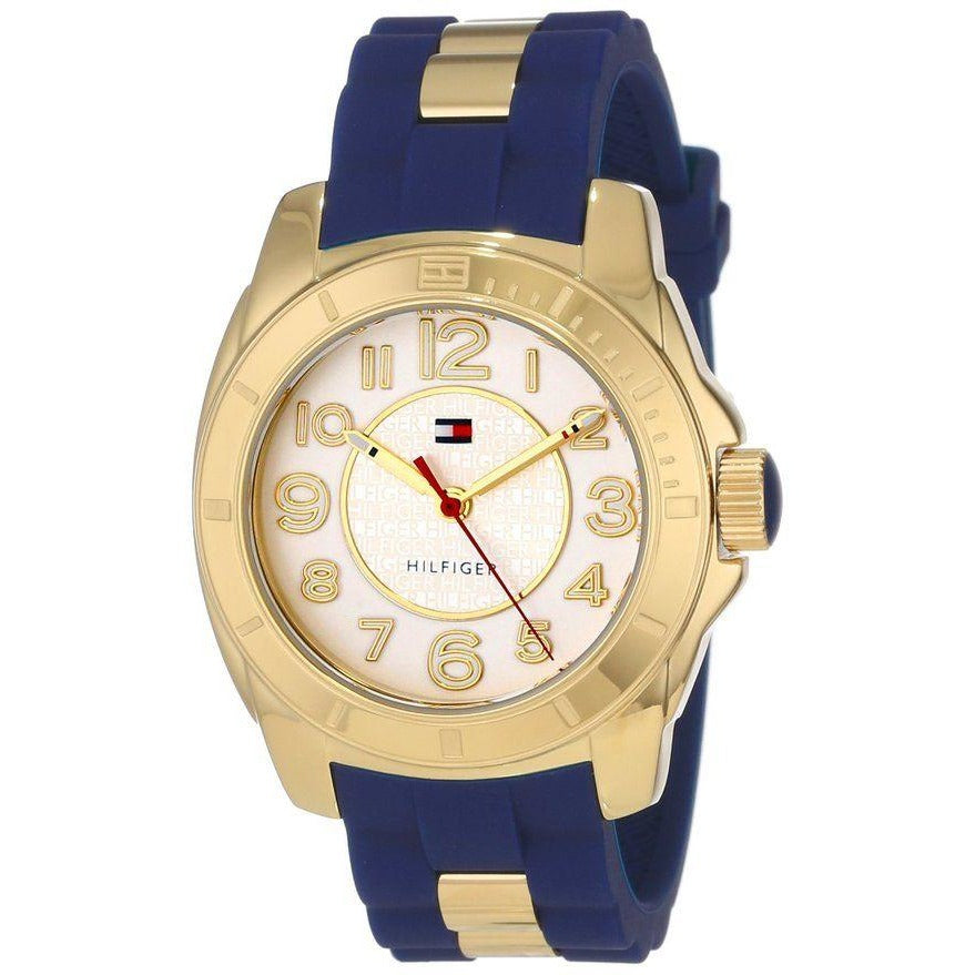 Tommy Hilfiger Women 1781307 Casual Sport Gold-Plated Case and Links with Silicone Strap Watch - 3alababak