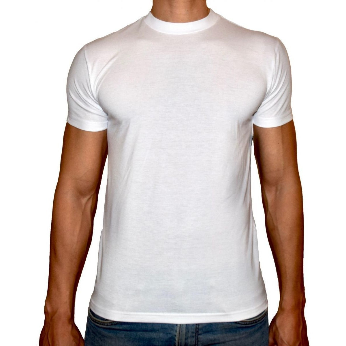 PHOENIX Basic White Round Neck T-Shirt For Men