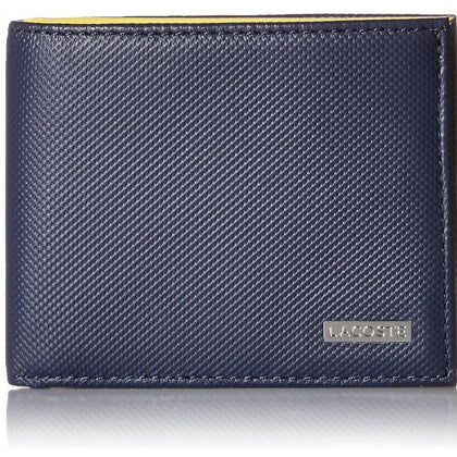 c0e438f62a6c Lacoste Men Edward Small Billfold Leather Wallet with ID Flap Navy Blue