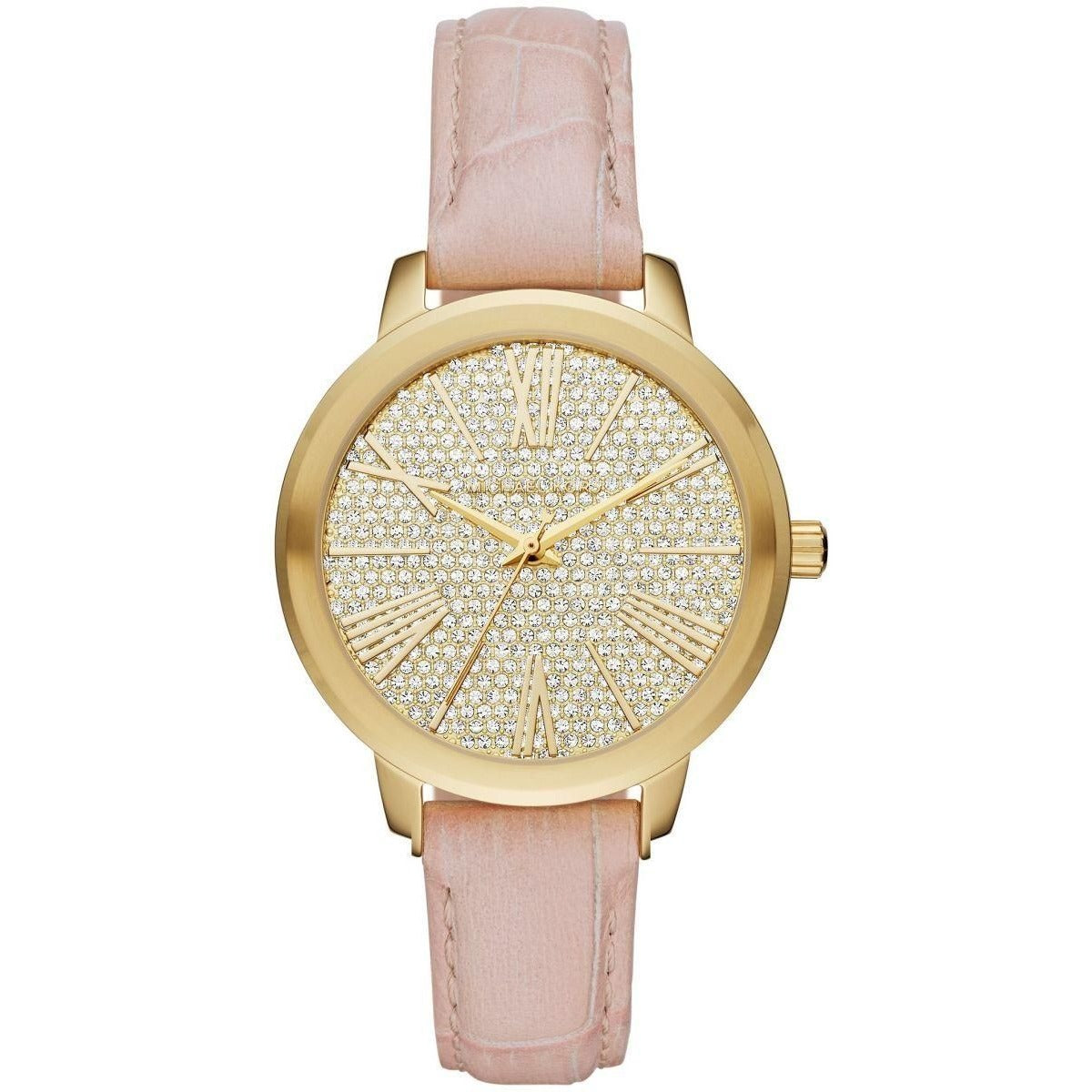 Michael Kors Hartman Women's Gold Pave Dial Leather Band Watch - MK2480