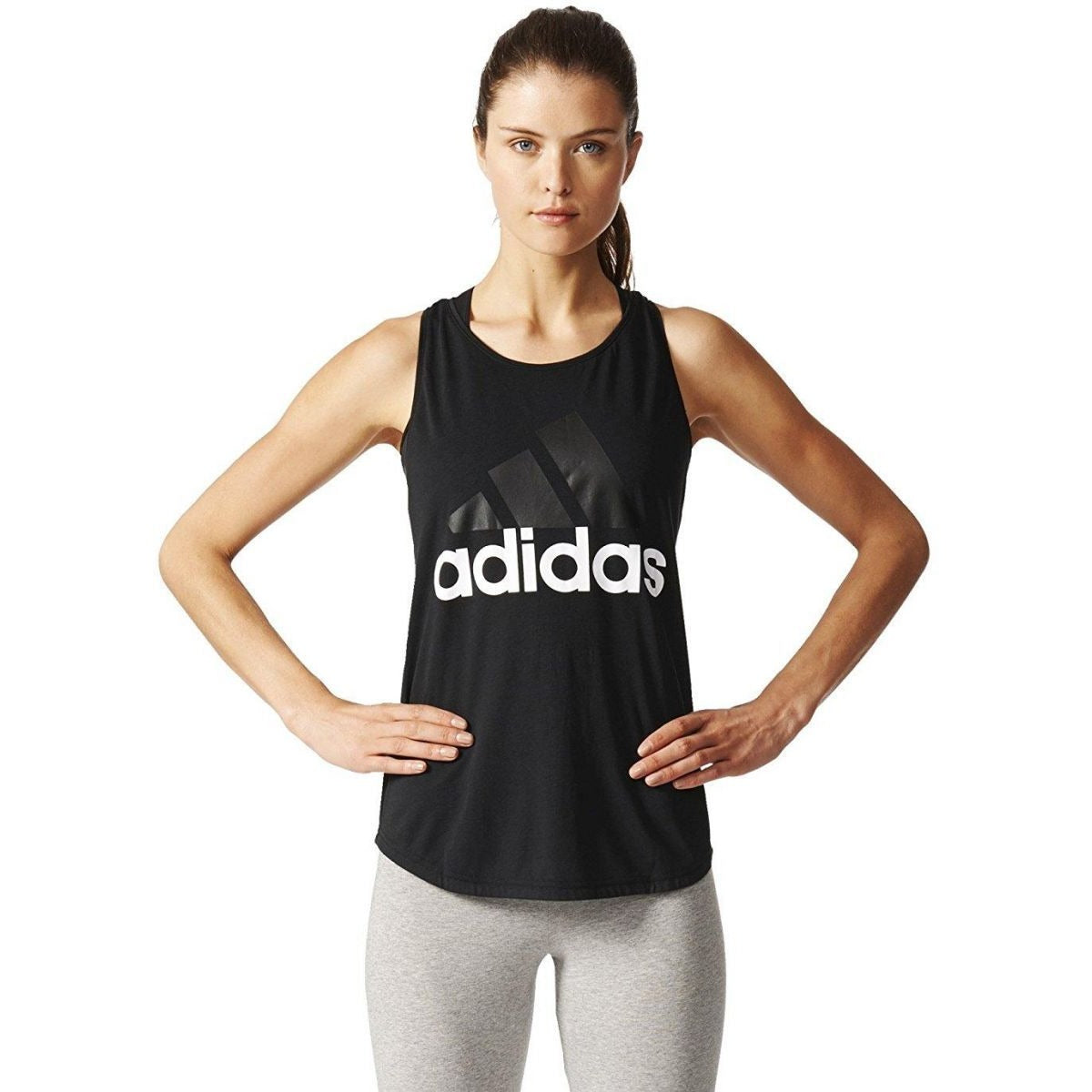 Adidas Black Round Neck Tank Top For Women