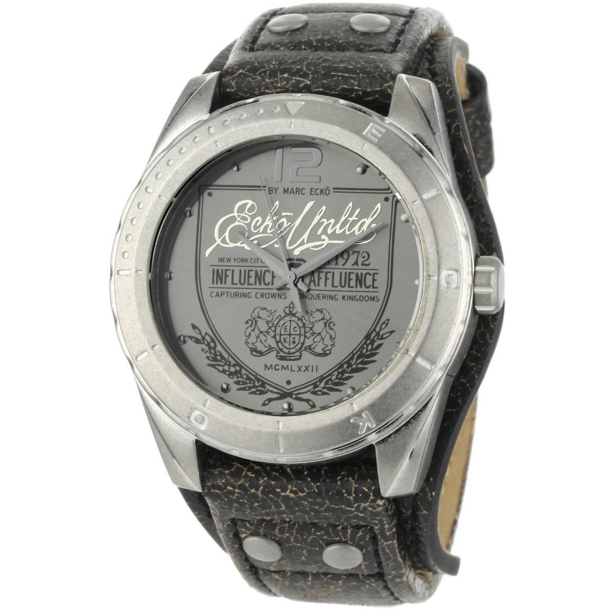 Marc Ecko Men's The Daily Black Leather Cuff Watch