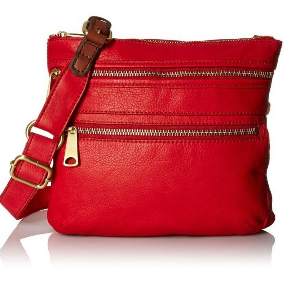 Fossil Explorer Cross Body Bag Real Red One Size