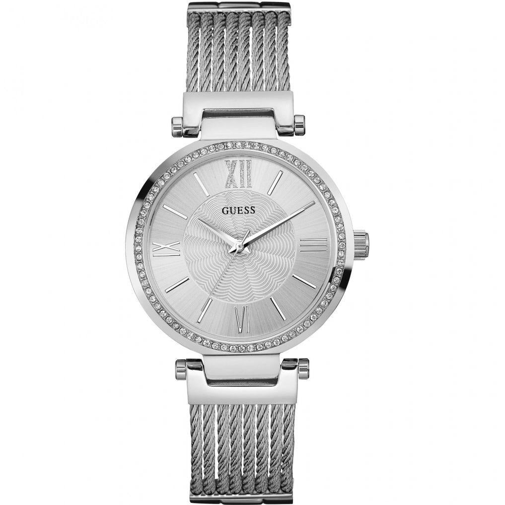 GUESS U0638L1 Stainless Steel Crystal Bangle Bracelet Watch Silver-Tone