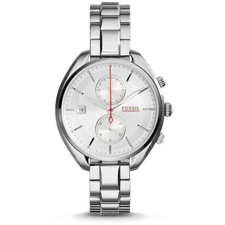 Fossil Land Racer Women's Silver Dial Stainless Steel Band Chronograph - CH2975P