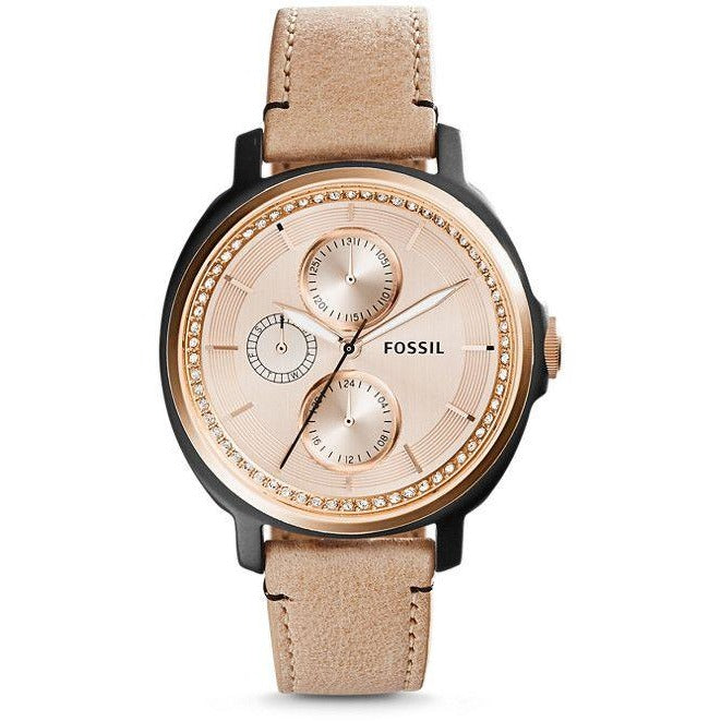 Fossil Chelsey Women's Rose Gold Dial Leather Band Multifunction Watch - ES3772