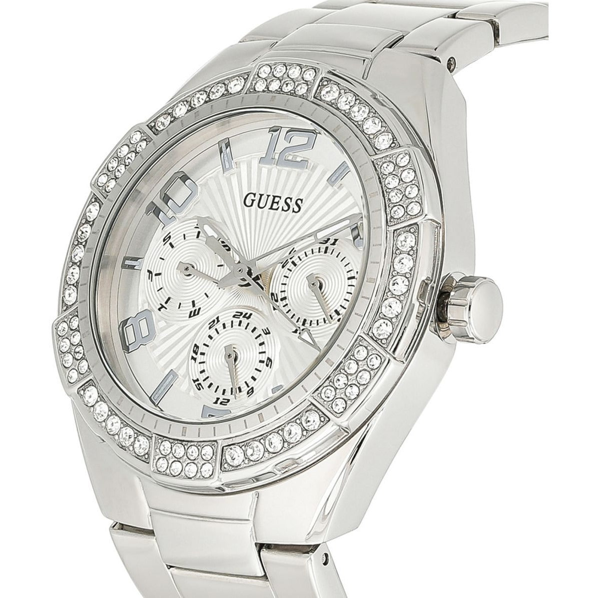 Guess Women's Silver Dial Stainless Steel Band Watch - U0729L1